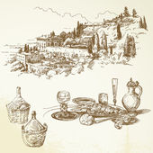 Wine, vineyard, Tuscany - hand drawn collection — Vector de stock