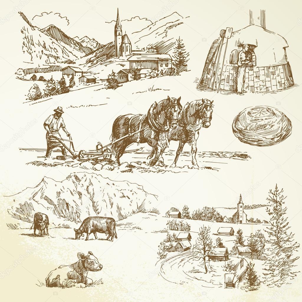 乡村景观, 农业, 养殖 — 矢量图片作者 canicula