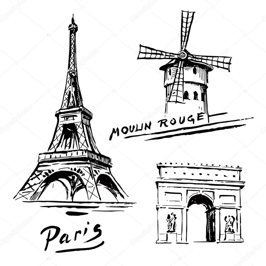 巴黎,法国-埃菲尔铁塔手绘集合 - 图库插图