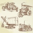Stock Vector: Vintage work vehicles