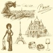 Stock Vector: Paris - hand drawn collection
