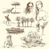 Horário de verão - coleção de mão desenhada — Vetorial Stock