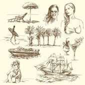 Heure d'été - collection dessinés à la main — Vecteur