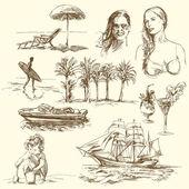 Periodo estivo - collezione disegnata a mano — Vettoriale Stock
