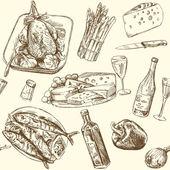 Seamless pattern - food — Stock Vector