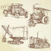 Vintage werk voertuigen — Stockvector