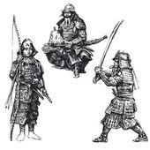 Japanse krijger - samurai — Vector de stock