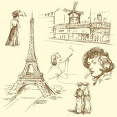 巴黎-手绘集合 — 图库矢量图片