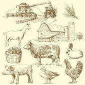çiftlik - elle çizilmiş koleksiyonu — Stok Vektör