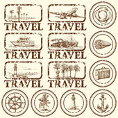 Travel stamp, mark — Stok Vektör