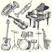Müzik aletleri — Stok Vektör