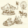 Carousel - hand drawn collection — Stock Vector