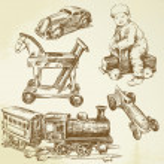 Vintage toys - hand drawn set — Stock Vector