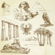 Ancient egypt - hand drawn set - Imagen vectorial