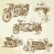 Vintage vehicles - hand drawn set — Stock Vector