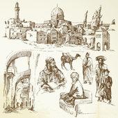 Jerusalén dibujados a mano — Vector de stock