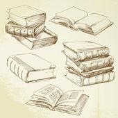 Libros dibujados a mano — Vector de stock