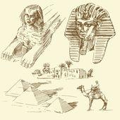 Egipto - colección dibujados a mano — Vector de stock