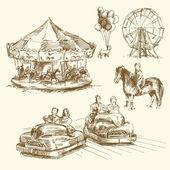 Carrousel - collection dessinés à la main — Vecteur
