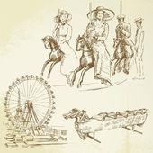 ビンテージのメリーゴーラウンド - 手描き下ろしセット — ストックベクタ