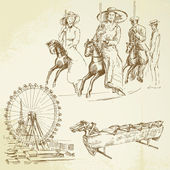 Vintage merry go round - hand drawn set — Cтоковый вектор