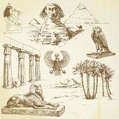 Antiguo egipto - conjunto dibujados a mano — Vector de stock