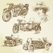 Ретро автомобили - рука нарисованные набор — Cтоковый вектор