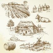 Agriturismo, villaggio agricolo - paesaggio rurale — Cтоковый вектор