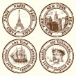 Travel stamps — Vector de stock #13886108
