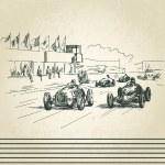Vintage racing cars — Stock Vector