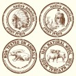 Stamps - indian chief — Stok Vektör