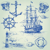 Nautical elements — Stockvector