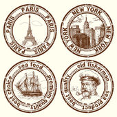 Travel stamps — Stockvector