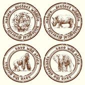 Wild africa stamps — Stock Vector