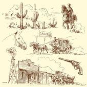 Vahşi batı — Stok Vektör