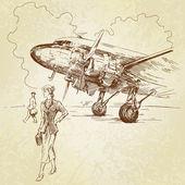 Vintage airplane - hand drawn illustration — Stok Vektör