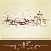 Vintage airplane - hand drawn illustration — Stock Vector