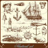 Nautical elements - hand drawn collection — Stock Vector