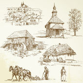 Rural landscape, agriculture - hand drawn collection — Vecteur