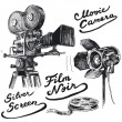 Movie camera-original hand drawn collection — Stock Vector