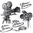 Stock Vector: Movie camera-original hand drawn collection