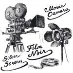 Movie camera-original hand drawn collection — Stock Vector