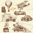 Old times-original hand drawn set - Imagen vectorial