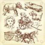 Antique toys-original hand drawn collection — Stock Vector