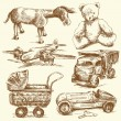 Antique toys-original hand drawn collection - Image vectorielle