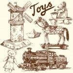 juguetes antiguos originales colección dibujada a mano — Vector de stock