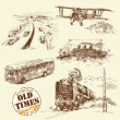 Old vehicles - hand drawn collection — Stock Vector