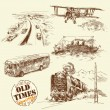 Stock Vector: Old vehicles - hand drawn collection