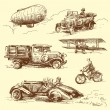 Old vehicles — Stock Vector