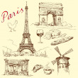 Stock Vector: France, paris, eiffel - hand drawn collection